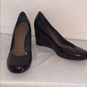 Dark cherry patent leather wedge